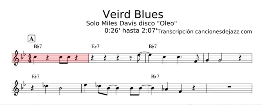 Vierd Blues – Miles Davis solo transcripción